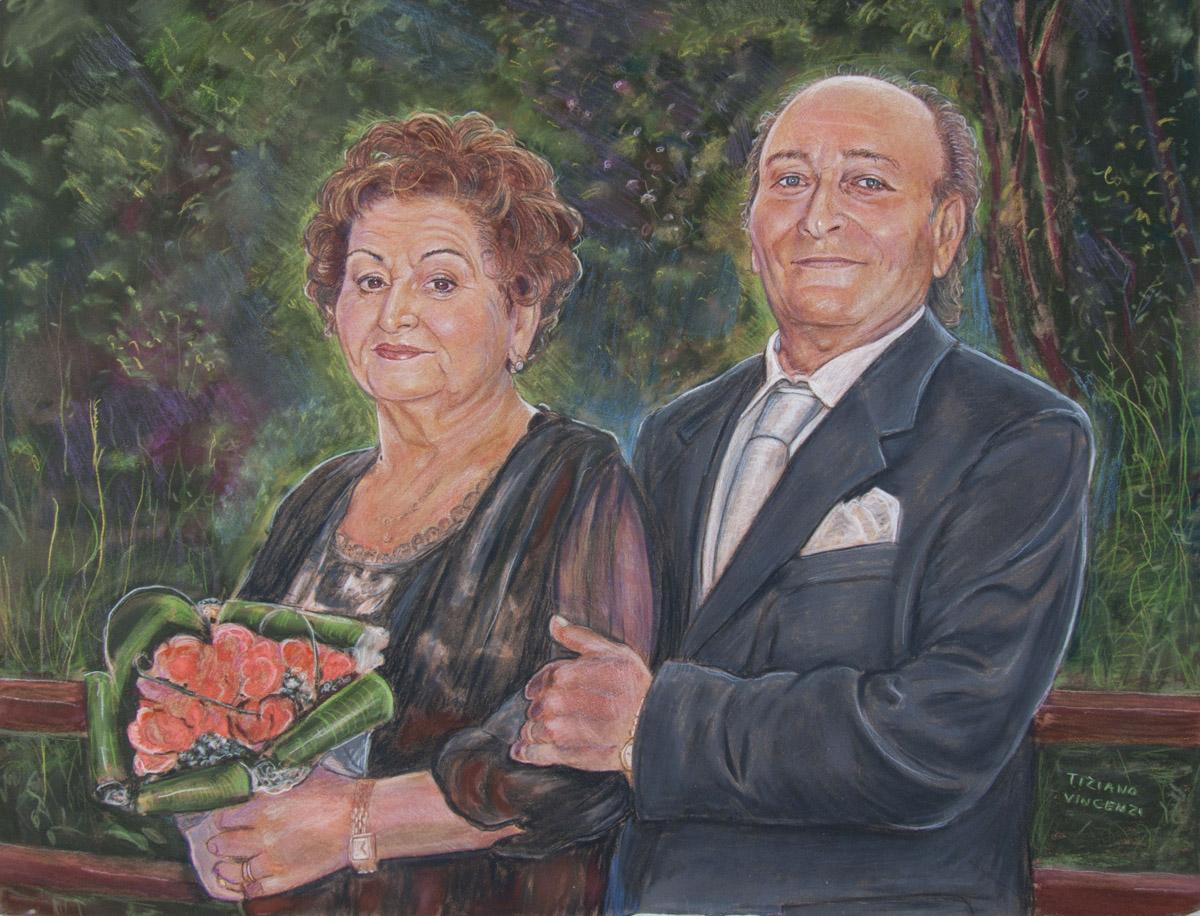 Ritratto disegno a pastello di anziani coniugi