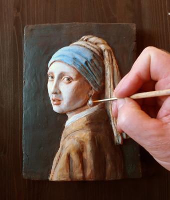copia in pittura e scultura della ragazza con orechino di perla-