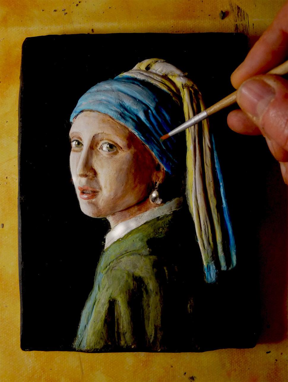 ragazza con orecchino di perla versione in scultura -