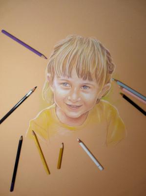 ritratto di bimba a matita pastello lezioni disegno