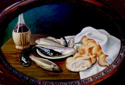 natura morta con pesce e pane