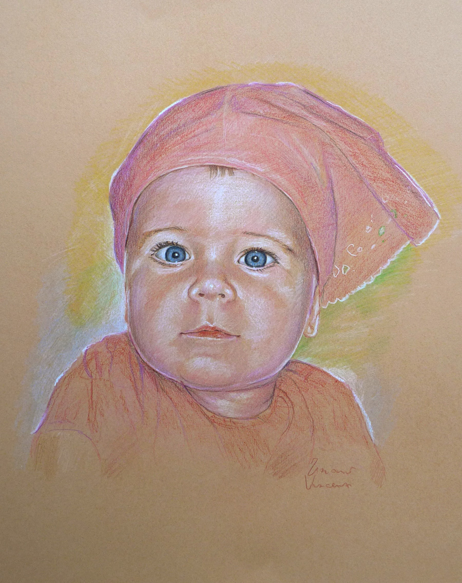 bimba con bandana ritratto a matita pastello