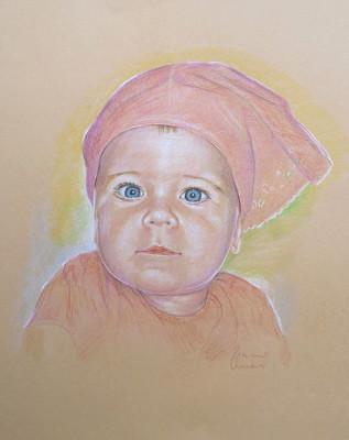 bimba con bandana ritratto pittura pastello