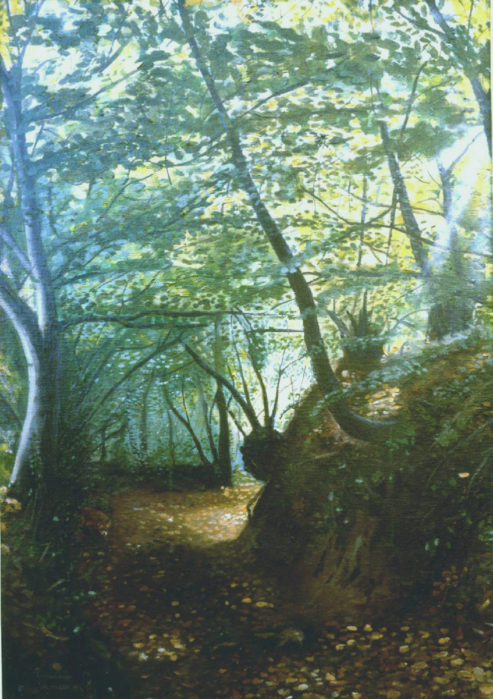 bosco con volpe dipinto naturalista