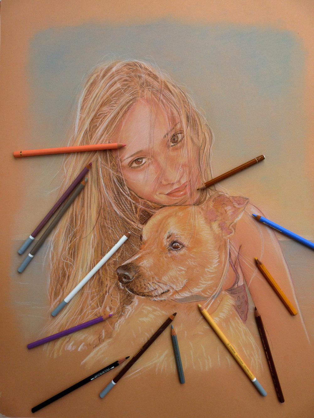 disegno ragazza e cagnolino