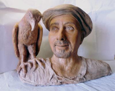 falconiere in scultura