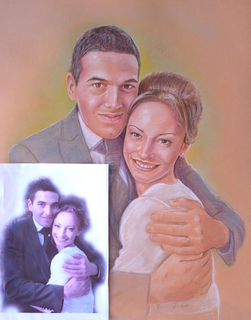 foto di sposi ritratto da foto a matita