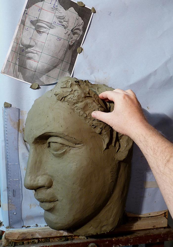 lezioni scultura terra creta testa
