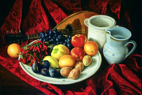 natura morta strumenti musicali frutta ceramica pittura