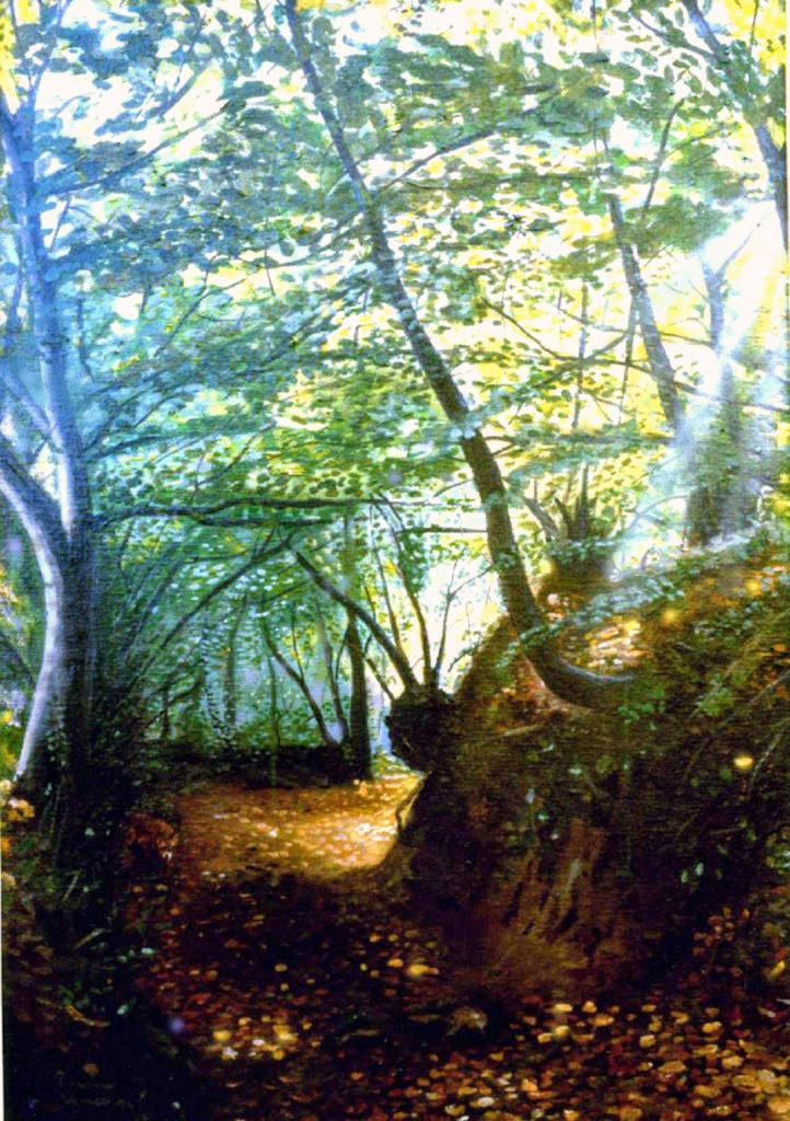 paesaggio-bosco-olio-su-tela-volpe-pittura