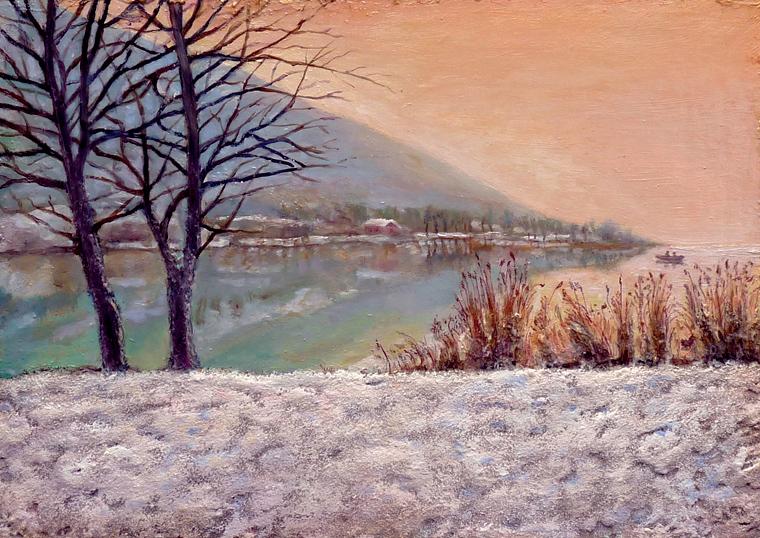 quadri con lago acqua dipinta
