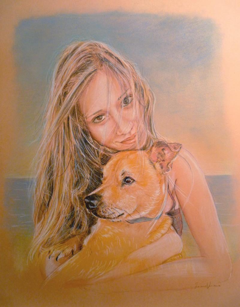 ragazza con cagnolino ritratto a matita pastello disegno