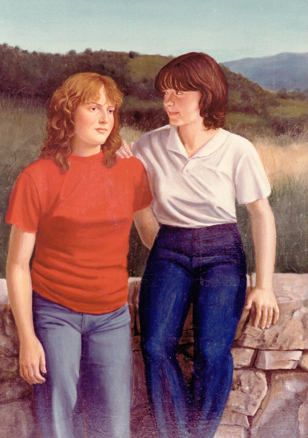 ritratti ad olio ragazze sul muretto