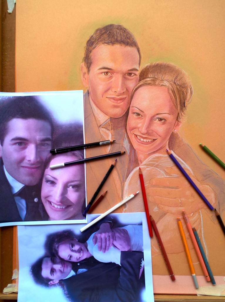 ritratto a pastello di sposini fasi conclusive