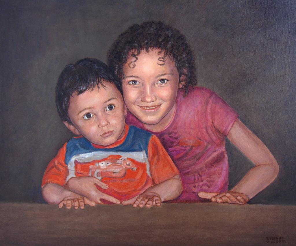 ritratto ad olio bambini