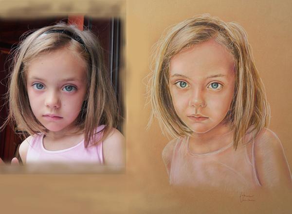 ritratto di bambina pittura disegno