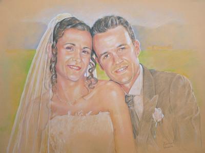 ritratto di sposi pittura disegno