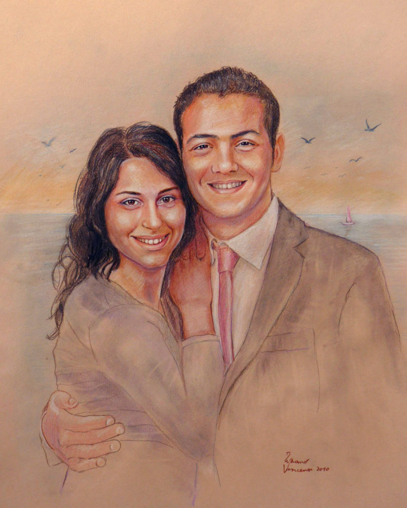 ritratto-di-sposi-ritratto-pittura-a-matita-pastello