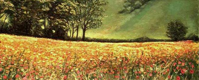 campo di papaveri pittura ad olio