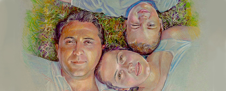 famiglia su erba